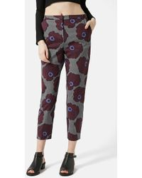 Topshop Petite Women'S Bloom Print Cigarette Trousers - Lyst