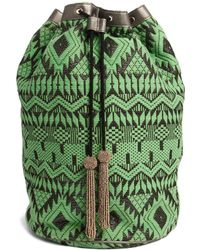 Asos Metallic Trim Duffle Backpack In Aztec - Lyst