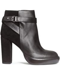 H&M | Leather Platform Ankle Boots | Lyst