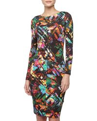 Nicole Miller Geofloral Print Ruched Fitted Dress Blackmulti - Lyst