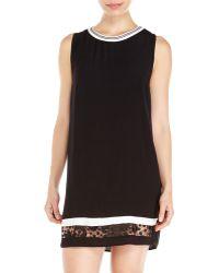 Lush Black & White Crochet Hem Dress - Lyst