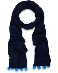 CASH CA - Navy Bobble Cashmere Scarf - Lyst