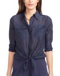 Ralph Lauren Silk-Cotton Shirt - Lyst