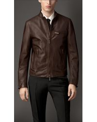 Burberry Zip Detail Lambskin Biker Jacket - Lyst