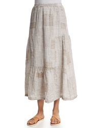 Eskandar - Tiered Patchwork Linen Midi Skirt - Lyst