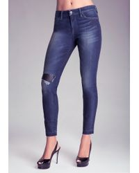 Bebe Slim Repair Jeans - Lyst