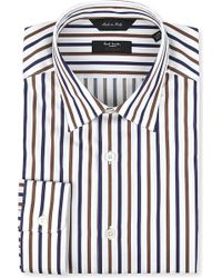 Paul Smith White Stripe Shirt Choc Navy - Lyst