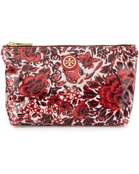 Tory Burch Floral Small Slouchy Cosmetic Bag Kyoto Red - Lyst