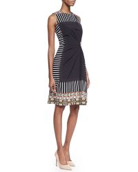 Etro Geometric Tribalprintbordered Sleeveless Gathered Dress Black - Lyst