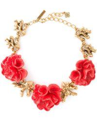 Oscar de la Renta Floral Necklace - Lyst