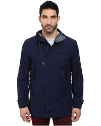 Cole Haan Cotton Twill Hooded Jacket With Leather Trim - Lyst