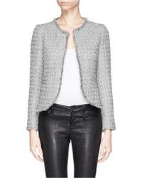 Armani Fray Edge Tweed Jacket - Lyst
