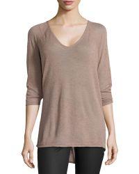 Halston Heritage 3/4-sleeve High-low Sweater - Lyst