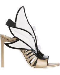 Gianmarco Lorenzi 100Mm Metallic Leather Wing Sandals - Lyst
