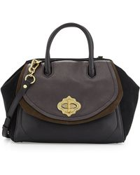 orYANY Mindy Leather And Suede Satchel black - Lyst