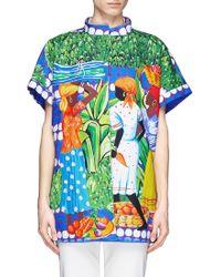 Stella Jean 'Ortolano' Caribbean Print Reversible Cotton Kimono Shirt - Lyst