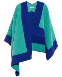 Burberry London Border Stripe Wool And Cashmere-Blend Poncho - Lyst