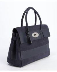 Mulberry Deep Navy Leather and Accent Bayswater Top Handle Bag - Lyst