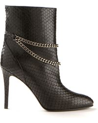 Saint Laurent Black Pythoneffect Debbie Ankle Boots - Lyst