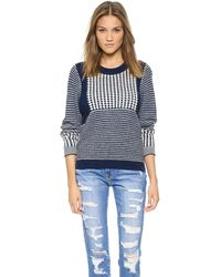 Sea Mixed Stitch Pullover  Blue - Lyst