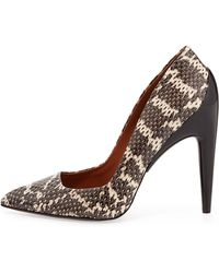 Rebecca Minkoff Cameron Snakeskin Pointy-toe Pump - Lyst