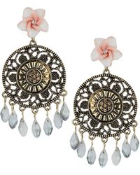 Topshop Cut Out Disc Flower Earrings - Lyst