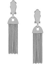 Vince Camuto - Silvertone Tassel Clip Earrings - Lyst