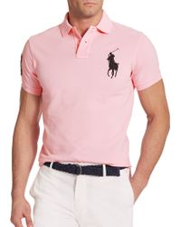 Polo Ralph Lauren Custom-Fit Big Pony Mesh Polo pink - Lyst