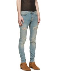 Saint Laurent Blue Vintage Distressed Skinny Jeans - Lyst