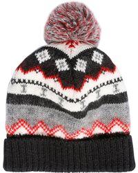 Saint Laurent - Pompom Wool Blend Jacquard Beanie Hat - Lyst