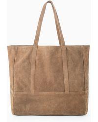Mango Suede Shopper Bag - Lyst