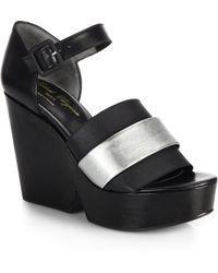 Robert Clergerie Metallic Leather Wedge Sandals - Lyst