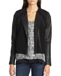 Vince Leather and Ponte Zip Jacket - Lyst