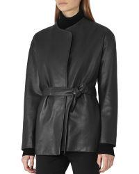 Reiss - Alice Leather Wrap Jacket - Lyst