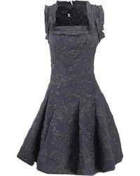 Lanvin Square Neck Brocade Dress - Lyst