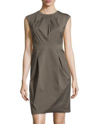 Lafayette 148 New York Pleated Cap-Sleeve Dress - Lyst