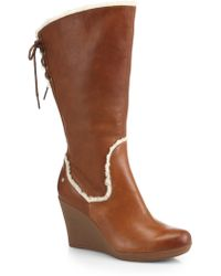 Ugg Emilie Leather Mid-calf Wedge Boots - Lyst