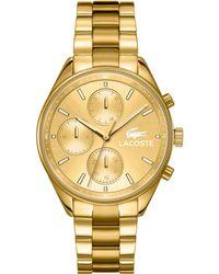 Lacoste Women'S Philadelphia Gold Ion-Plated Stainless Steel Bracelet Watch 39Mm 2000866 - Lyst