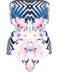River Island Blue Abstract Floral Print Monokini - Lyst
