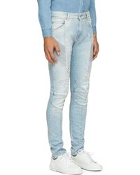 Balmain Blue Distressed And Ribbed Biker Jeans - Lyst