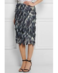Burberry Prorsum Layered Printed Silk-chiffon Midi Skirt - Lyst