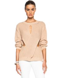 Stella McCartney Crew Neck Cut Out Sweater beige - Lyst