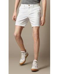 Burberry Cotton Twill Chino Shorts - Lyst
