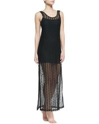 L Space Swimwear By Monica Wise Charmer Knit Tank Coverup with Slip Black X-small - Lyst