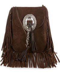 Saint Laurent - Anita Suede Fringed Shoulder Bag - Lyst