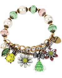 Betsey Johnson Goldtone Bug Charm and Faceted Bead Halfstretch Bracelet - Lyst