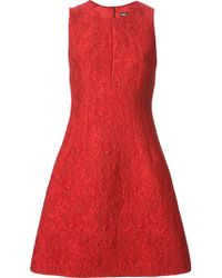 Dolce & Gabbana Red Embossed Dress - Lyst