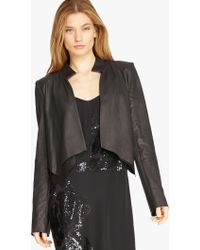Halston | Cropped Leather Overlay Jacket | Lyst