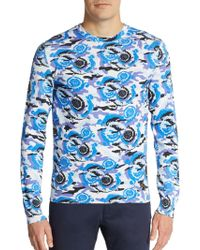 Versace Printed Cotton Jersey Pullover blue - Lyst