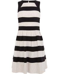 Karen Millen Graphic Stripe Lace Dress - Lyst